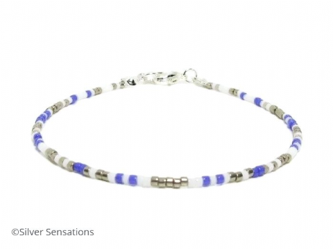 Purple, Silver & White Seed Bead Boho Anklet